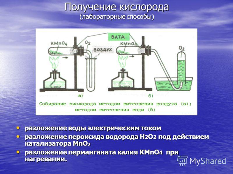 Получение кислорода (лабораторные способы) разложение воды электрическим током разложение воды электрическим током разложение пероксида водорода Н 2 О 2 под действием катализатора MnO 2 разложение пероксида водорода Н 2 О 2 под действием катализатора