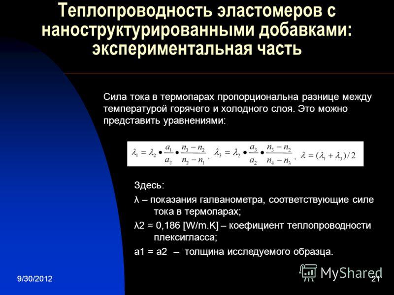 7/28/201221 Теплопроводность эластомеров с наноструктурированными добавками: экспериментальная часть Здесь: λ – показания галванометра, соответствующие силе тока в термопарах; λ2 = 0,186 [W/m.K] – коефициент теплопроводности плексигласса; а1 = а2 – т