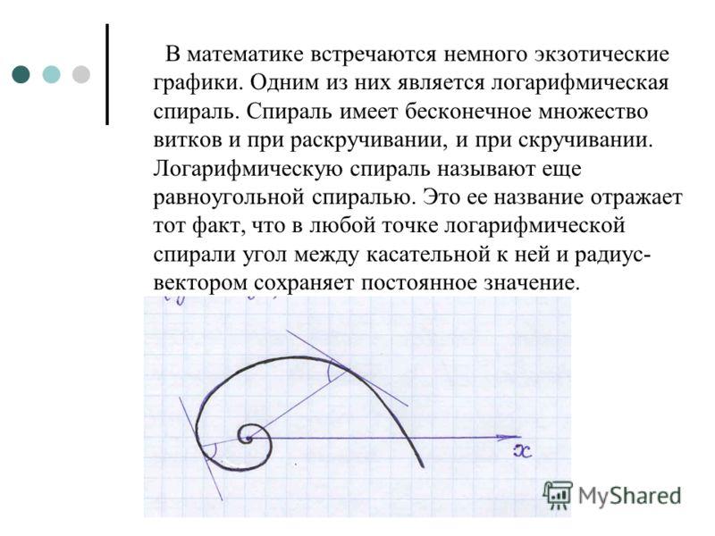 В математике встречаются немного экзотические графики. Одним из них является логарифмическая спираль. Спираль имеет бесконечное множество витков и при раскручивании, и при скручивании. Логарифмическую спираль называют еще равноугольной спиралью. Это