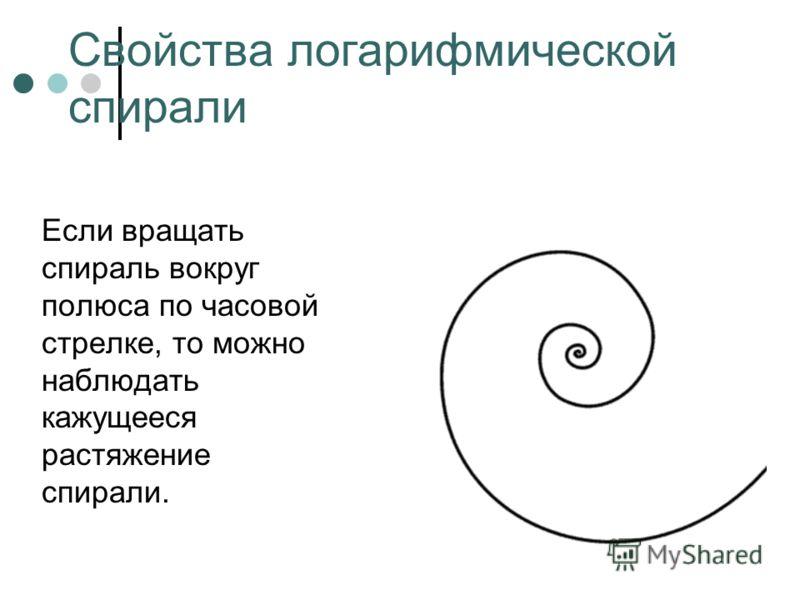 Свойства логарифмической спирали Если вращать спираль вокруг полюса по часовой стрелке, то можно наблюдать кажущееся растяжение спирали.