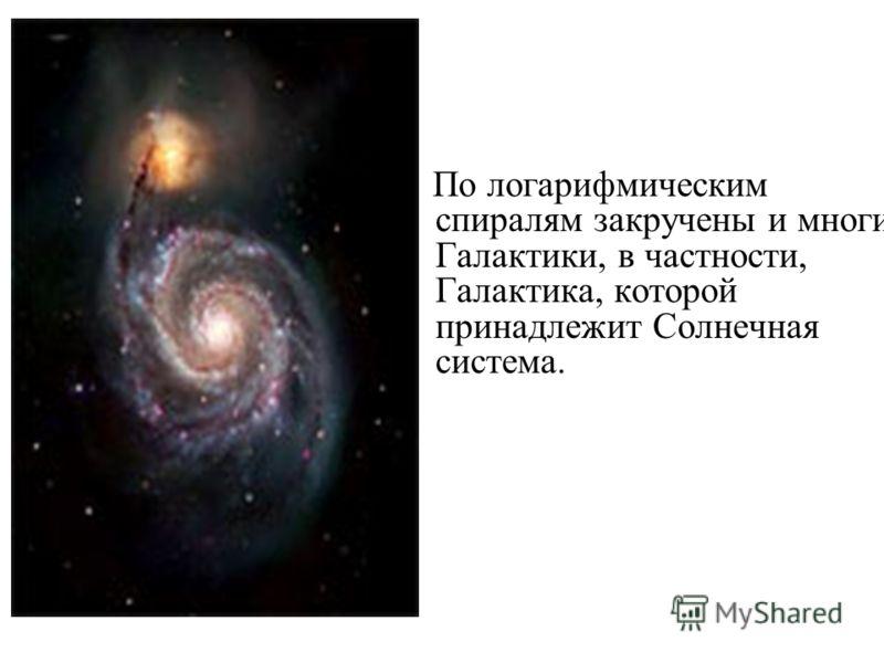По логарифмическим спиралям закручены и многие Галактики, в частности, Галактика, которой принадлежит Солнечная система.