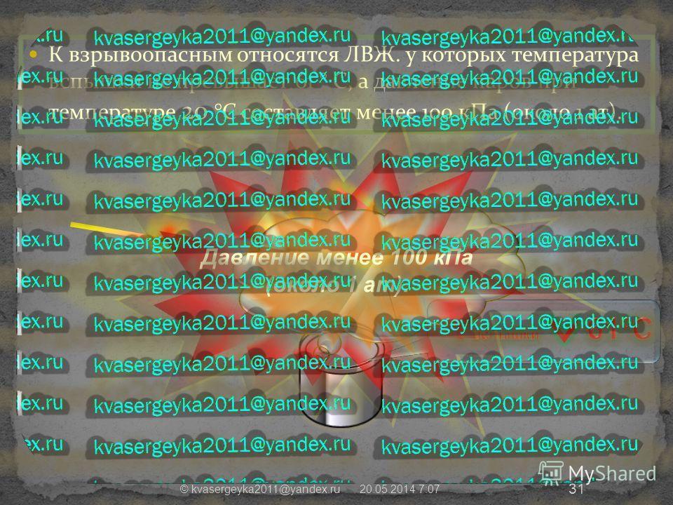 К взрывоопасным относятся ЛВЖ. у которых температура вспышки не превышает 61 ° С, а давление паров при температуре 20 °С составляет менее 100 кПа (около 1 ат). 20.05.2014 7:09 © kvasergeyka2011@yandex.ru 31 Давление менее 100 кПа (около 1 ат).