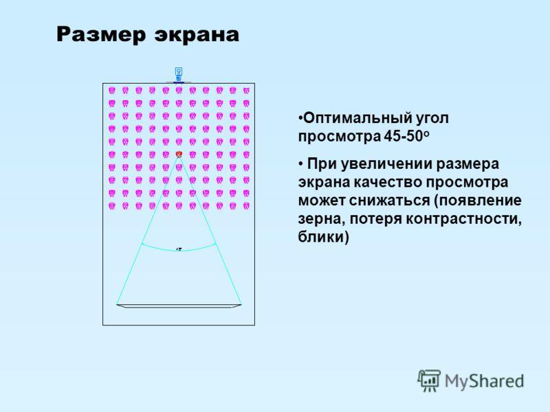 Размер экрана Оптимальный угол просмотра 45-50 о При увеличении размера экрана качество просмотра может снижаться (появление зерна, потеря контрастности, блики)