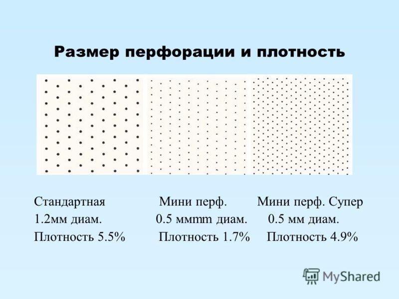 Размер перфорации и плотность Стандартная Мини перф. Мини перф. Супер 1.2мм диам. 0.5 ммmm диам. 0.5 мм диам. Плотность 5.5% Плотность 1.7% Плотность 4.9%