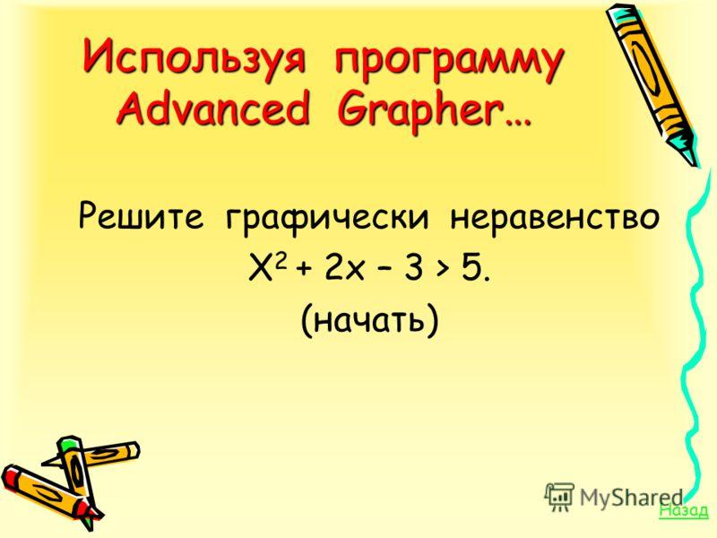 Используя программу Advanced Grapher… Решите графически неравенство Х 2 + 2х – 3 > 5. (начать) Назад