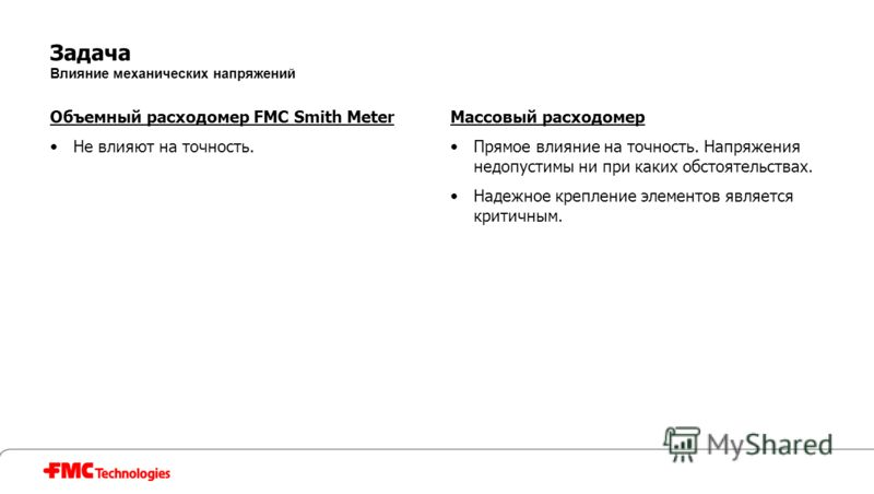Задача Влияние механических напряжений Объемный расходомер FMC Smith Meter Не влияют на точность. Массовый расходомер Прямое влияние на точность. Напряжения недопустимы ни при каких обстоятельствах. Надежное крепление элементов является критичным.