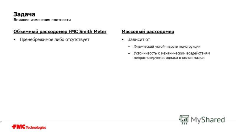 Задача Влияние изменения плотности Объемный расходомер FMC Smith Meter Пренебрежимое либо отсутствует Массовый расходомер Зависит от –Физической устойчивости конструкции –Устойчивость к механическим воздействиям непрогнозируема, однако в целом низкая