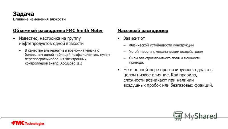 Задача Влияние изменения вязкости Объемный расходомер FMC Smith Meter Известно, настройка на группу нефтепродуктов одной вязкости В качестве альтернативы возможна увязка с более, чем одной таблицей коэффициентов, путем перепрограммирования электронны