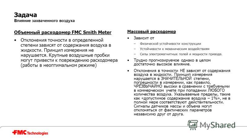 Задача Влияние захваченного воздуха Объемный расходомер FMC Smith Meter Отклонения точности в определенной степени зависят от содержания воздуха в жидкости. Принцип измерения не нарушается. Крупные воздушные пробки могут привести к повреждению расход