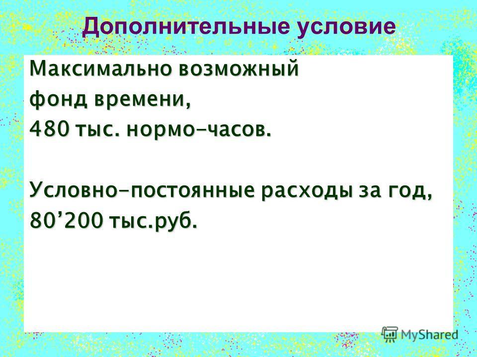 Дополнительные условие Максимально возможный фонд времени, 480 тыс. нормо-часов. Условно-постоянные расходы за год, 80200 тыс.руб.