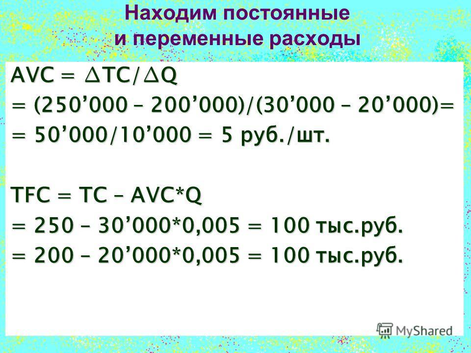Находим постоянные и переменные расходы AVC = TC/Q = (250000 – 200000)/(30000 – 20000)= = 50000/10000 = 5 руб./шт. TFC = TC – AVC*Q = 250 – 30000*0,005 = 100 тыс.руб. = 200 – 20000*0,005 = 100 тыс.руб.