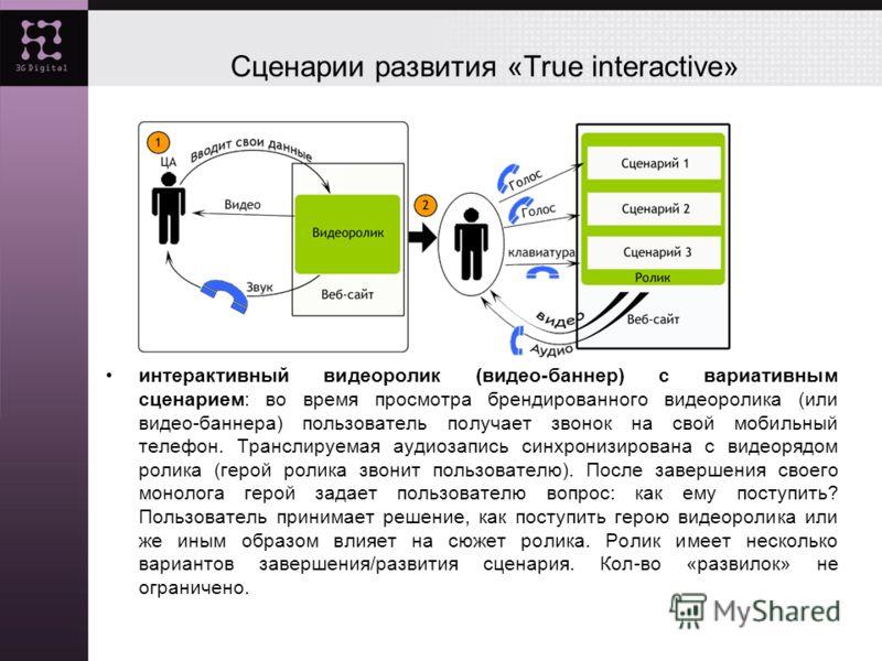 Сценарии развития «True interactive» интерактивный видеоролик (видео-баннер) с вариативным сценарием: во время просмотра брендированного видеоролика (или видео-баннера) пользователь получает звонок на свой мобильный телефон. Транслируемая аудиозапись