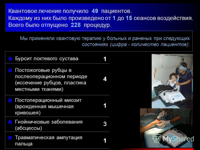 В составе полевого многопрофильного госпиталя ВЦМК Минздрава Российской Федерации мы осуществляли лечение раненых и больных в г. Гудермес Чеченской Республики в период с 20 августа по 10 октября 2001 г. В комплексном лечении раненых и больных нами бы