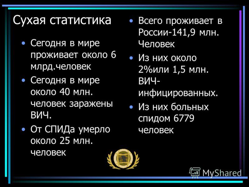 Сухая статистика Сегодня в мире проживает около 6 млрд.человек Сегодня в мире около 40 млн. человек заражены ВИЧ. От СПИДа умерло около 25 млн. человек Всего проживает в России-141,9 млн. Человек Из них около 2%или 1,5 млн. ВИЧ- инфицированных. Из ни