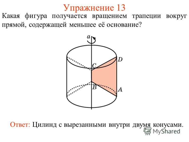 Упражнение 13 Какая фигура получается вращением трапеции вокруг прямой, содержащей меньшее её основание? Ответ: Цилинд с вырезанными внутри двумя конусами.
