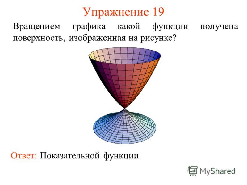Упражнение 19 Вращением графика какой функции получена поверхность, изображенная на рисунке? Ответ: Показательной функции.