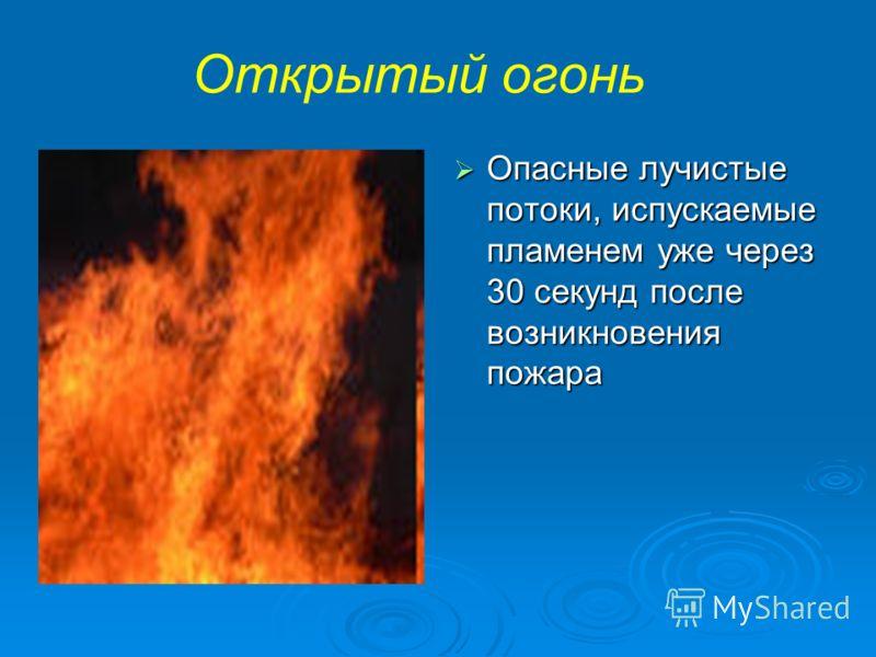 Открытый огонь Опасные лучистые потоки, испускаемые пламенем уже через 30 секунд после возникновения пожара Опасные лучистые потоки, испускаемые пламенем уже через 30 секунд после возникновения пожара