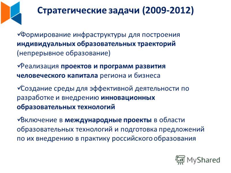 Стратегические задачи (2009-2012) Формирование инфраструктуры для построения индивидуальных образовательных траекторий (непрерывное образование) Реализация проектов и программ развития человеческого капитала региона и бизнеса Создание среды для эффек