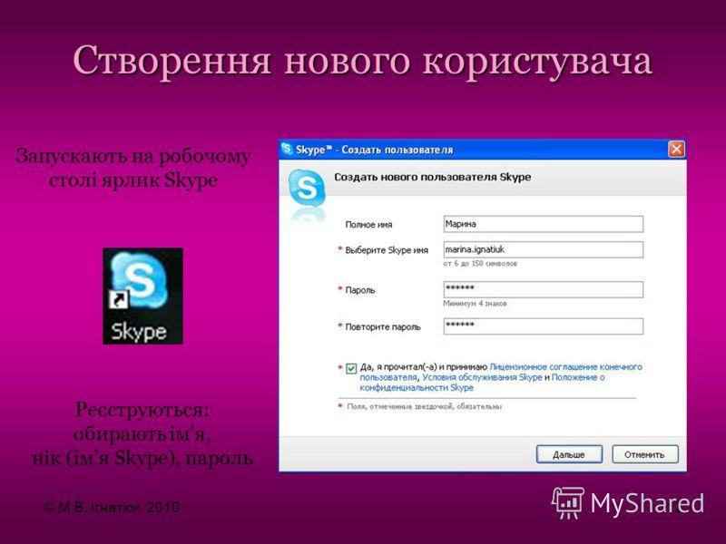 Запускають на робочому столі ярлик Skype Створення нового користувача Реєструються: обирають імя, нік (імя Skype), пароль © М.В. Ігнатюк, 201012