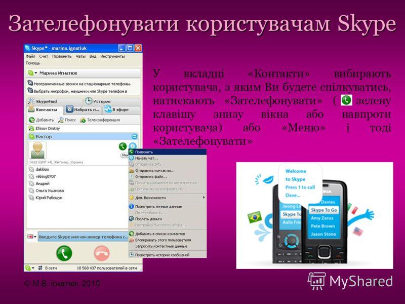 Зателефонувати користувачам Skype У вкладці «Контакти» вибирають користувача, з яким Ви будете спілкуватись, натискають «Зателефонувати» ( зелену клавішу знизу вікна або навпроти користувача) або «Меню» і тоді «Зателефонувати» © М.В. Ігнатюк, 201016
