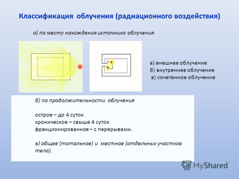 Классификация облучения (радиационного воздействия) а) по месту нахождения источника облучения а) внешнее облучение б) внутреннее облучение в) сочетанное облучение б) по продолжительности облучения острое – до 4 суток хроническое – свыше 4 суток фрак