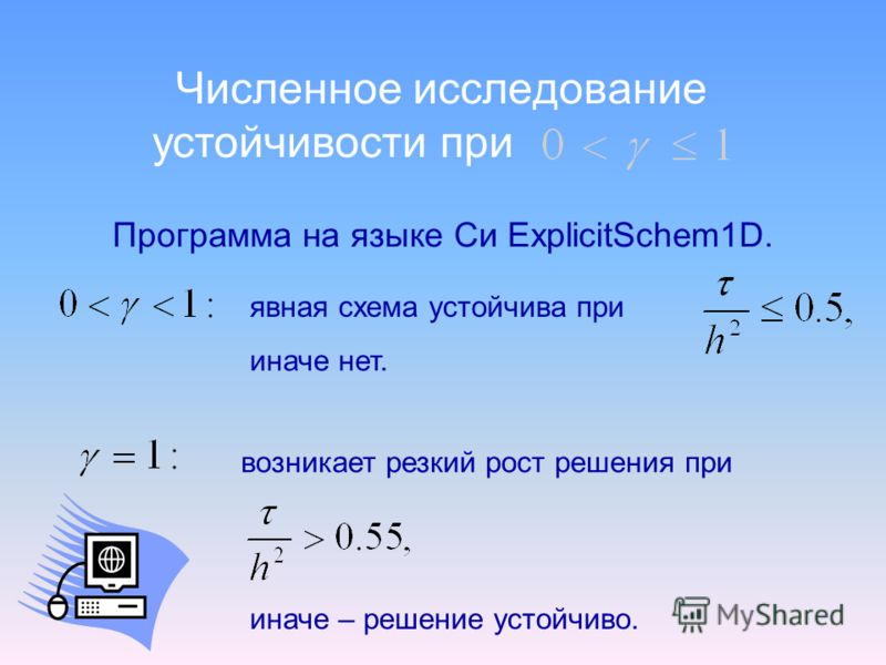 Численное исследование Программа на языке Си ExplicitSchem1D. устойчивости при явная схема устойчива при иначе нет. возникает резкий рост решения при иначе – решение устойчиво.