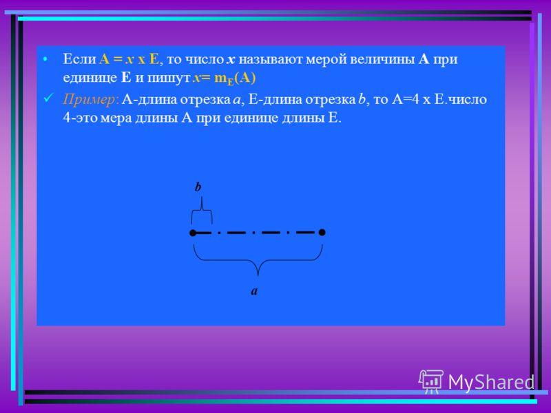 Если А = х х Е, то число х называют мерой величины А при единице Е и пишут х= m E (А) Пример: А-длина отрезка а, Е-длина отрезка b, то А=4 х Е.число 4-это мера длины А при единице длины Е. a b