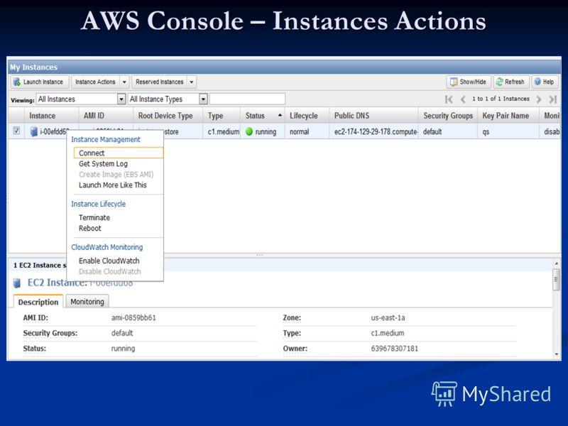 AWS Console – Instances Actions