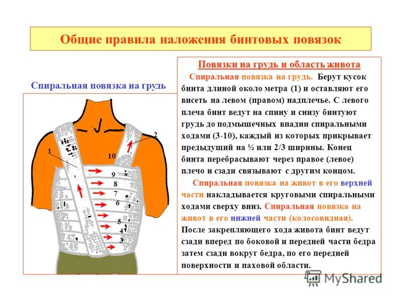 Общие правила наложения бинтовых повязок Повязки на грудь и область живота Спиральная повязка на грудь. Берут кусок бинта длиной около метра (1) и оставляют его висеть на левом (правом) надплечье. С левого плеча бинт ведут на спину и снизу бинтуют гр
