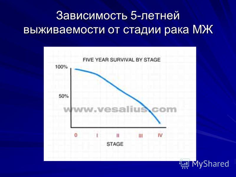 Зависимость 5-летней выживаемости от стадии рака МЖ