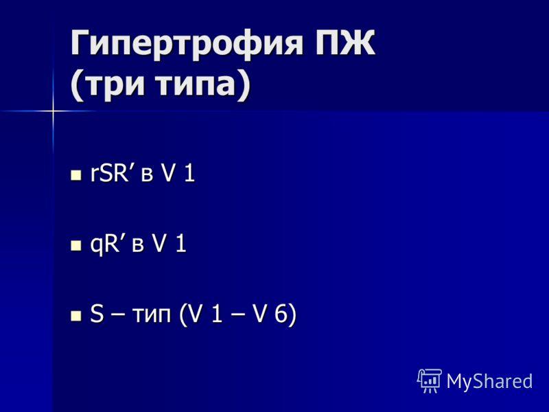 Гипертрофия ПЖ (три типа) rSR в V 1 rSR в V 1 qR в V 1 qR в V 1 S – тип (V 1 – V 6) S – тип (V 1 – V 6)