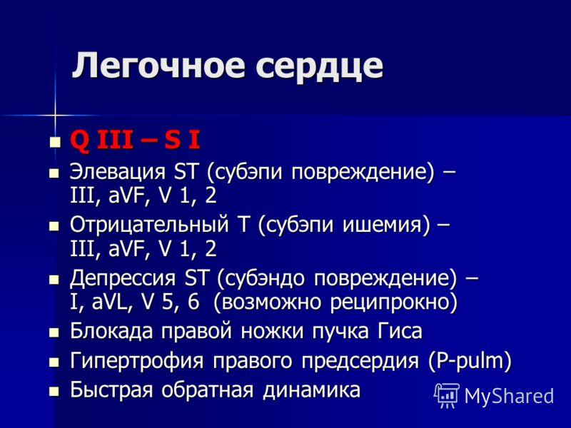 Легочное сердце Q III – S I Q III – S I Элевация ST (субэпи повреждение) – III, aVF, V 1, 2 Элевация ST (субэпи повреждение) – III, aVF, V 1, 2 Отрицательный Т (субэпи ишемия) – III, aVF, V 1, 2 Отрицательный Т (субэпи ишемия) – III, aVF, V 1, 2 Депр