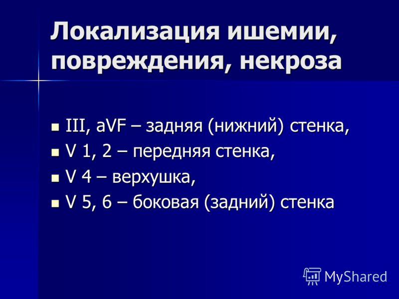 Локализация ишемии, повреждения, некроза III, aVF – задняя (нижний) стенка, III, aVF – задняя (нижний) стенка, V 1, 2 – передняя стенка, V 1, 2 – передняя стенка, V 4 – верхушка, V 4 – верхушка, V 5, 6 – боковая (задний) стенка V 5, 6 – боковая (задн