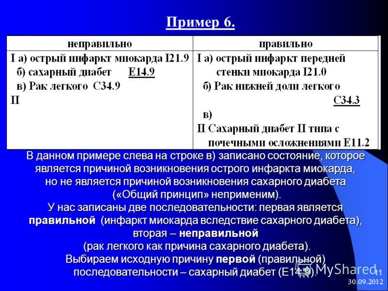 08.08.2012 11 Пример 6. В данном примере слева на строке в) записано состояние, которое является причиной возникновения острого инфаркта миокарда, но не является причиной возникновения сахарного диабета («Общий принцип» неприменим). («Общий принцип»