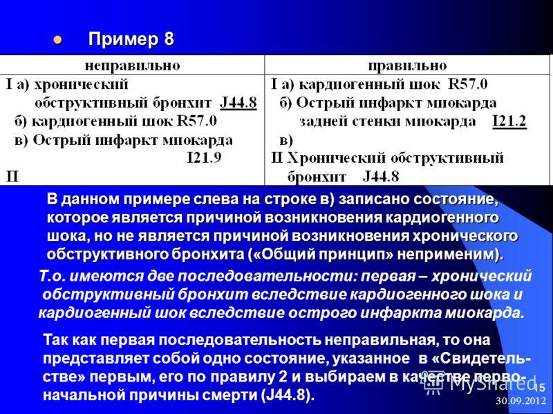 08.08.2012 15 Пример 8 Пример 8 В данном примере слева на строке в) записано состояние, В данном примере слева на строке в) записано состояние, которое является причиной возникновения кардиогенного которое является причиной возникновения кардиогенног