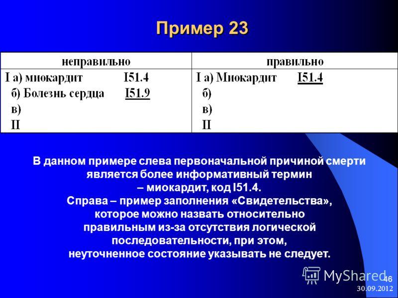08.08.2012 46 Пример 23 Пример 23 В данном примере слева первоначальной причиной смерти является более информативный термин – миокардит, код I51.4. Справа – пример заполнения «Свидетельства», которое можно назвать относительно правильным из-за отсутс