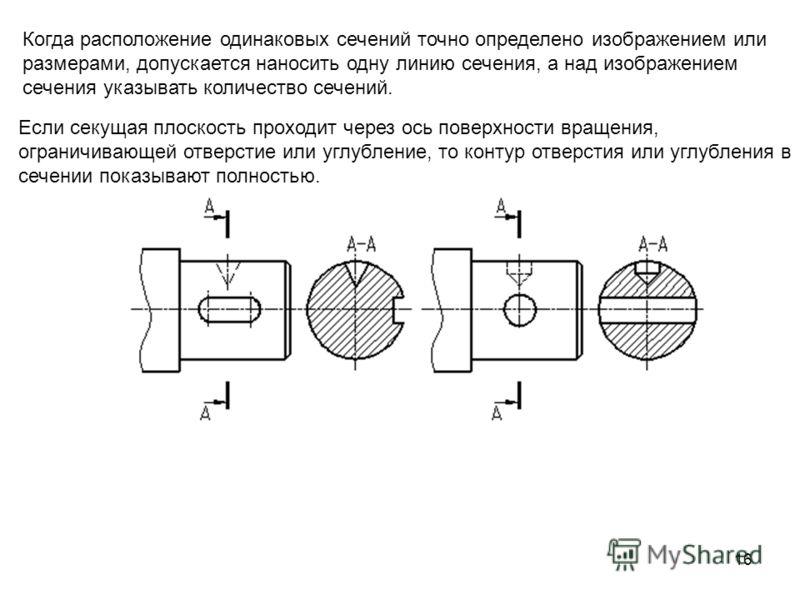 16 Когда расположение одинаковых сечений точно определено изображением или размерами, допускается наносить одну линию сечения, а над изображением сечения указывать количество сечений. Если секущая плоскость проходит через ось поверхности вращения, ог