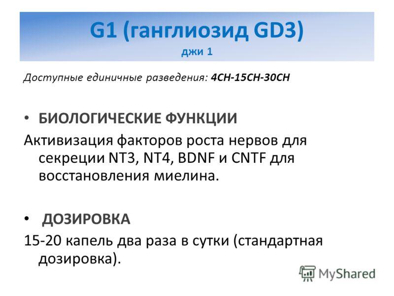 G1 (ганглиозид GD3) джи 1 Доступные единичные разведения: 4CH-15CH-30CH БИОЛОГИЧЕСКИЕ ФУНКЦИИ Активизация факторов роста нервов для секреции NT3, NT4, BDNF и CNTF для восстановления миелина. ДОЗИРОВКА 15-20 капель два раза в сутки (стандартная дозиро