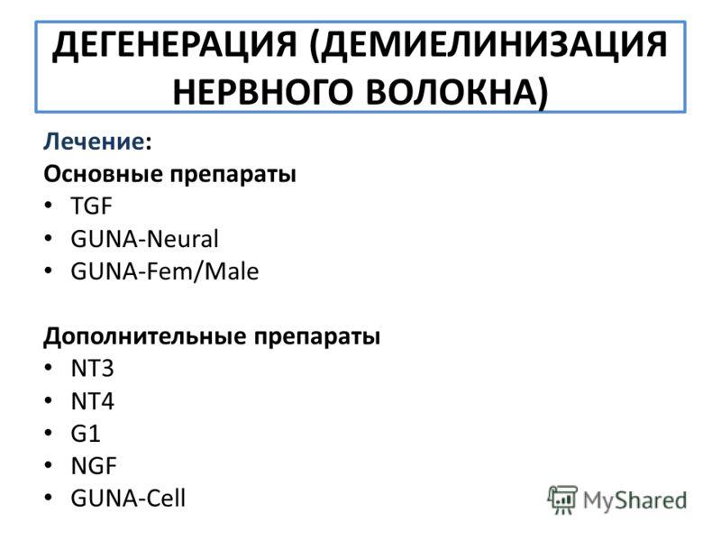 ДЕГЕНЕРАЦИЯ (ДЕМИЕЛИНИЗАЦИЯ НЕРВНОГО ВОЛОКНА) Лечение: Основные препараты TGF GUNA-Neural GUNA-Fem/Male Дополнительные препараты NT3 NT4 G1 NGF GUNA-Cell