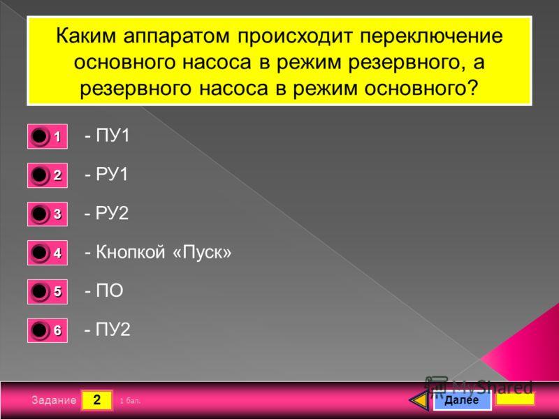2 Задание Каким аппаратом происходит переключение основного насоса в режим резервного, а резервного насоса в режим основного? - ПУ1 - РУ1 - РУ2 - Кнопкой «Пуск» Далее - ПО - ПУ2 1 бал. 1111 0 2222 0 3333 0 4444 0 5555 0 6666 0