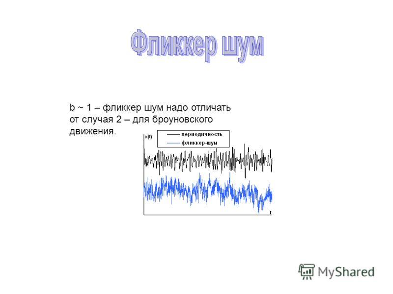 b ~ 1 – фликкер шум надо отличать от случая 2 – для броуновского движения.