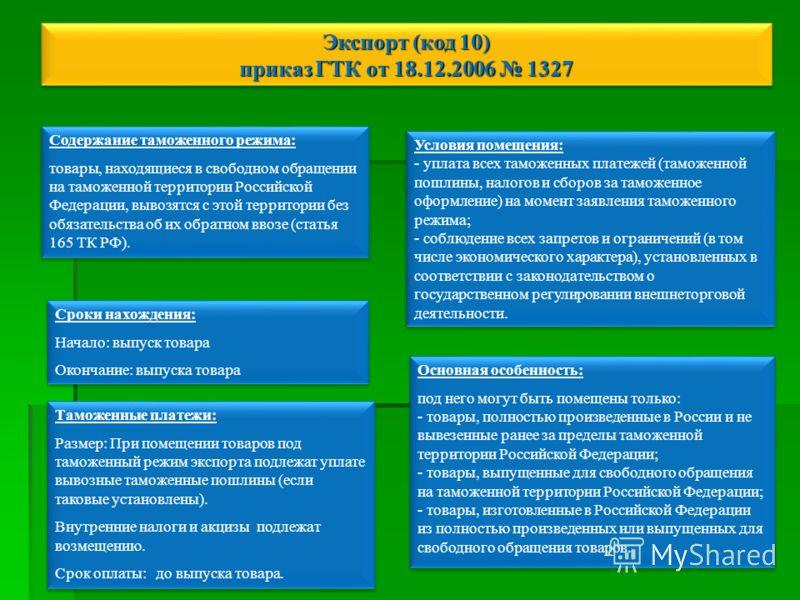 Экспорт (код 10) приказ ГТК от 18.12.2006 1327 Содержание таможенного режима: товары, находящиеся в свободном обращении на таможенной территории Российской Федерации, вывозятся с этой территории без обязательства об их обратном ввозе (статья 165 ТК Р