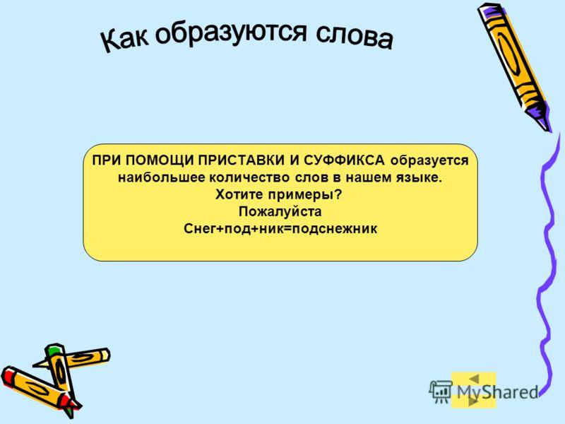 ПРИ ПОМОЩИ ПРИСТАВКИ И СУФФИКСА образуется наибольшее количество слов в нашем языке. Хотите примеры? Пожалуйста Снег+под+ник=подснежник