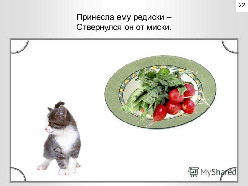 Стала девочка котенка кормить. Принесла овсяной кашки – Отвернулся он от чашки. 21
