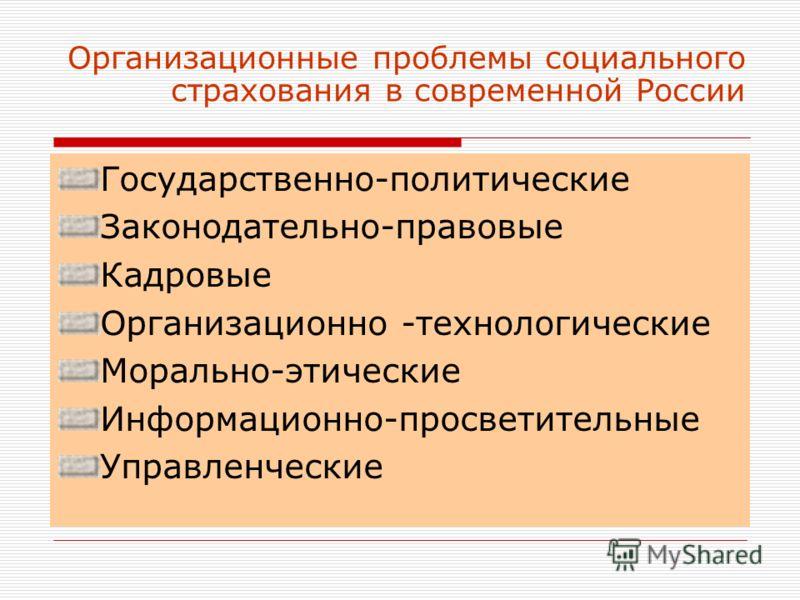 Организационные проблемы социального страхования в современной России Государственно-политические Законодательно-правовые Кадровые Организационно -технологические Морально-этические Информационно-просветительные Управленческие