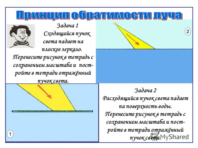 1 2 Задача 1 Сходящийся пучок света падает на плоское зеркало. Перенесите рисунок в тетрадь с сохранением масштаба и пост- ройте в тетради отражённый пучок света. Задача 2 Расходящийся пучок света падает па поверхность воды. Перенесите рисунок в тетр