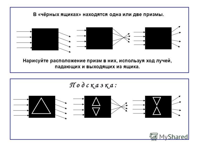 В «чёрных ящиках» находятся одна или две призмы. Нарисуйте расположение призм в них, используя ход лучей, падающих и выходящих из ящика. П о д с к а з к а :