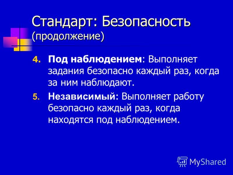 Стандарт: Безопасность (продолжение) 4. Под наблюдением: Выполняет задания безопасно каждый раз, когда за ним наблюдают. 5. Независимый: Выполняет работу безопасно каждый раз, когда находятся под наблюдением.