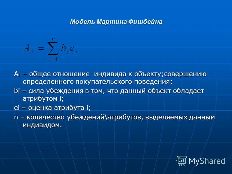 Модель Мартина Фишбейна А о – общее отношение индивида к объекту;совершению определенного покупательского поведения; bi – сила убеждения в том, что данный объект обладает атрибутом i; ei – оценка атрибута i; n – количество убеждений\атрибутов, выделя