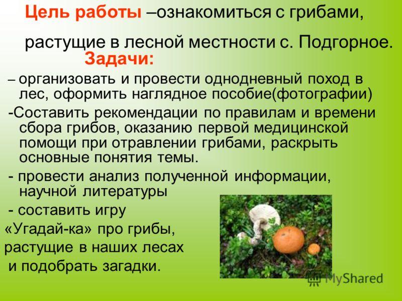 Цель работы –ознакомиться с грибами, растущие в лесной местности с. Подгорное. Задачи: – организовать и провести однодневный поход в лес, оформить наглядное пособие(фотографии) -Составить рекомендации по правилам и времени сбора грибов, оказанию перв